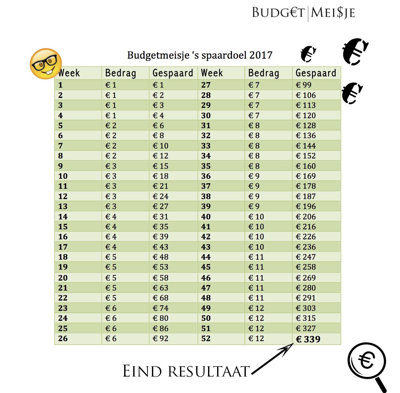 spaardoel 2017 budgetmeisje