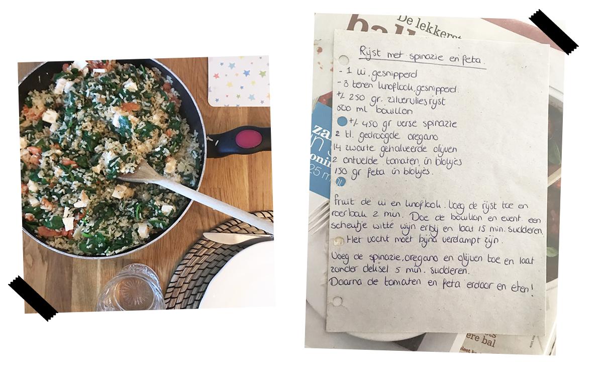 zilvervliesrijst met spinazie
